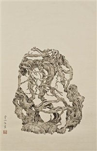 painting of a root sculpture by zeng xiaojun