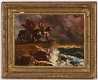 paysage de tempête avec cavalier by eugène fromentin
