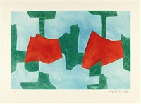komposition in blau, grün und rot by serge poliakoff