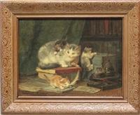 katzenmutter mit ihren vier spielenden katzenkindern in einer bibliothek by henriette ronner-knip