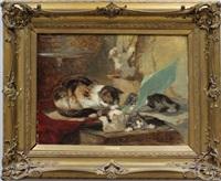 katzenmutter mit ihren vier spielenden katzenkindern by henriette ronner-knip