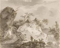 landschaft mit reisigsammlern an einem wasserfall by sauveur legros