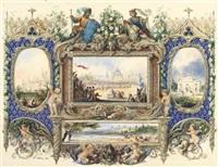 panorama mit rittertunier, schlössern, flankiert von putten auf der jagd by charles leblanc