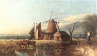 an extensive broadland view with a windmill and a cottage and horses watering at a pond in the foreground by anthony sandys