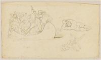 zeichnungen zu dantes divina commedia (portfolio of 4 studies,+ studie zu einer kreuzabnahme christi, smllr; 2 works) by gustav heinrich naeke