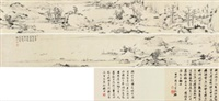 雁荡看山图 (landscape) (+ colophon, smllr) by hong ren