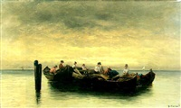 sicilian fisherfolk in a becalmed sea by a. vescovi