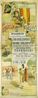 plaza toros de madrid el jueves 22 de mayo de 1902. gran corrida extraordinaria. ocho toros. caballeos en plaza (on 3 joined sheets) by macias reyes
