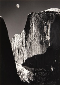 moon and half dome, yosemite valley by ansel adams