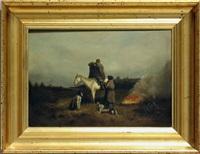 zwei jäger mit pferd und barsois am lagerfeuer by petr petrovich sokolov