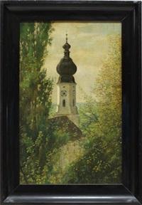 blick von bewaldeter anhöhe auf ein kirche by wladislaw karol szerner