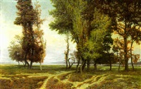 wooded park with a bay beyond by theodor alphons