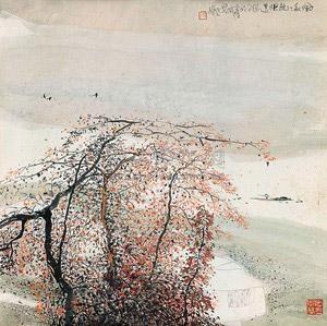 夕晖秋江无限远 by zhu daoping