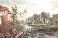 an extensive summer landscape with cattle watering at a river and a cottage in the foreground by charles p. pitt