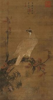 玉鹰红叶图 by emperor huizong