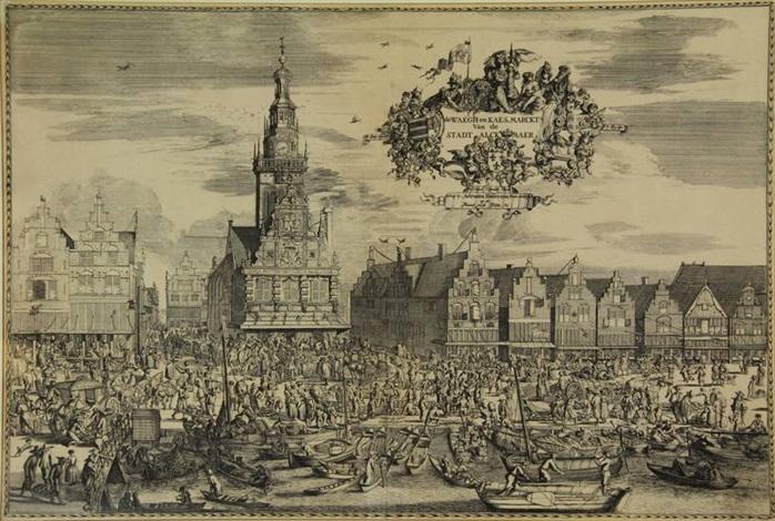 de waegh en kaes marckt van de stadt alckmaer by romeyn de hooghe