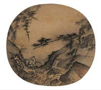 松岩观瀑图 (listening to the sound of spring) by ma yuan