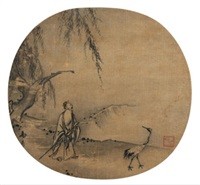 高士携鹤图 (a hermit and a crane) by ma yuan