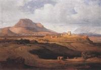 landschaft an der festungsruine des akrokorinth by ludwig lange