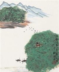 泛舟图 立轴 设色纸本 by liu kaiqu