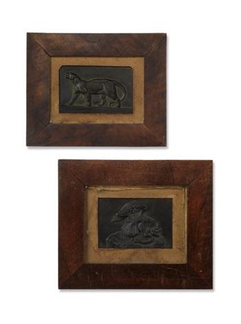 paar reliefs: adler mit schlange kämpfend und jaguar (2 works) by antoine-louis barye
