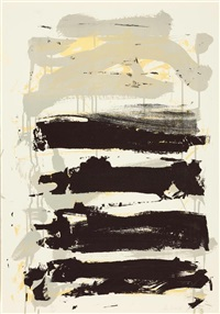 champs (black, grey and yellow) by joan mitchell