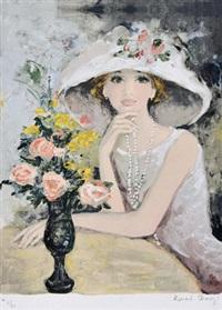 1960年代 白珍珠项链女子 by bernard charoy