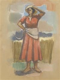 porträt einer getreideernterin mit sichel by luigi taddei