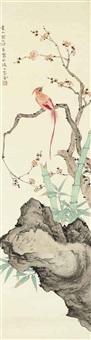 bird, bamboo, and rock by jiang hanting