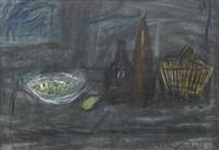 stillleben mit korb, früchteschale und flaschen by alexandre rochat