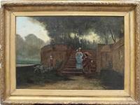 kavallier und dame, eine parktreppe heruntersteigend sowie an flusslauf wartender diener mit jagdhunden by florent willems