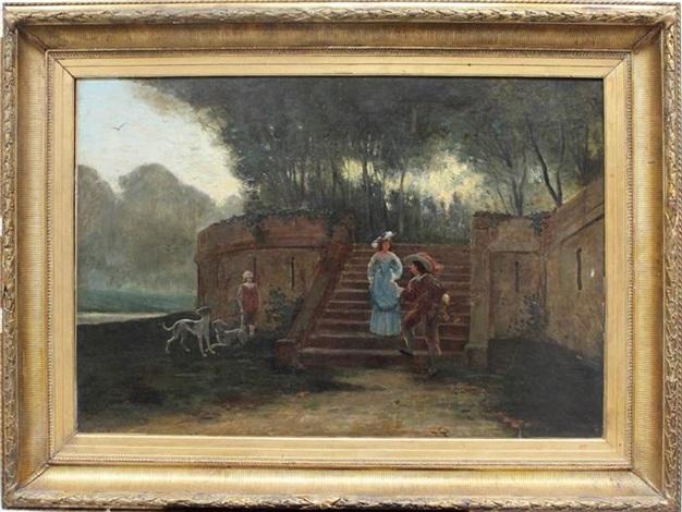 kavallier und dame eine parktreppe heruntersteigend sowie an flusslauf wartender diener mit jagdhunden by florent willems