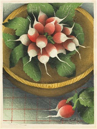 corsage (+ we repeat (two radishes), color woodcut, 1944) by luigi rist