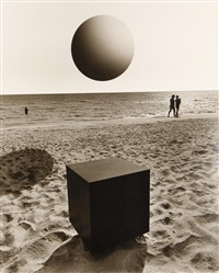 untitled (ball and cube at beach) by jerry uelsmann