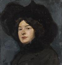 porträt einer dame mit hut by benjamin a. strasser