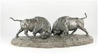zwei kämpfende bisons by franz iffland
