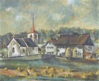 yoki landschaft mit kirche und häusern by yoki (emil aebischer)