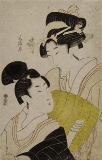 der buddhistische bettelmönch komuso mit einer kurtisane by bunro