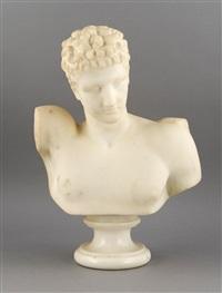 marmorbüste des apoll (?), figur mit fragment einer hand auf der linken schulter by pietro barzanti