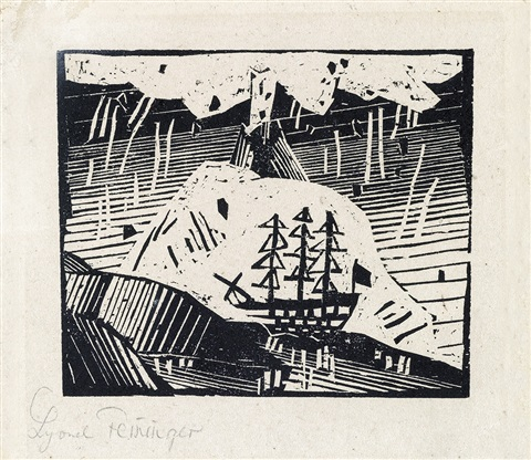 vulkan from zwolf holzschnitte by lyonel feininger