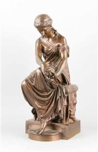 bronzeguss einer sinnierenden römerin mit öllampe in der hand by eugene-antoine aizelin