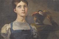 brustbildnis einer frau mit barettträger im hintergrund by johann georg volmar