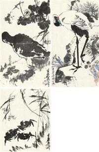 花鸟 (三帧) (3 works) by liang qi