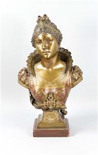 große bronzebüste der venezianischen edeldame d. 16. jh. bianca capello by charles georges ferville-suan