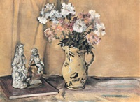flowers and two figurines by ethel sands