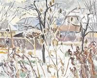 winterliche landschaftspartie mit trockenblumen by adolf weber
