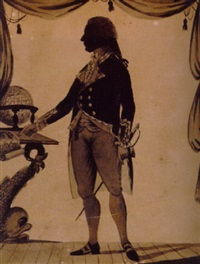 silhouette of captain pellow, later viscount exmouth, in naval uniform by william wellings
