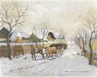 winterliche landschaft mit ochsengespann by gyorgy nemeth