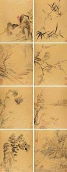 山水花鸟绘画集珍 (album of 8) by zhou zhimian