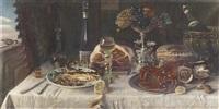 stillleben mit prachtvoll gedecktem tisch by hans erich albrecht von seltzer-stahn